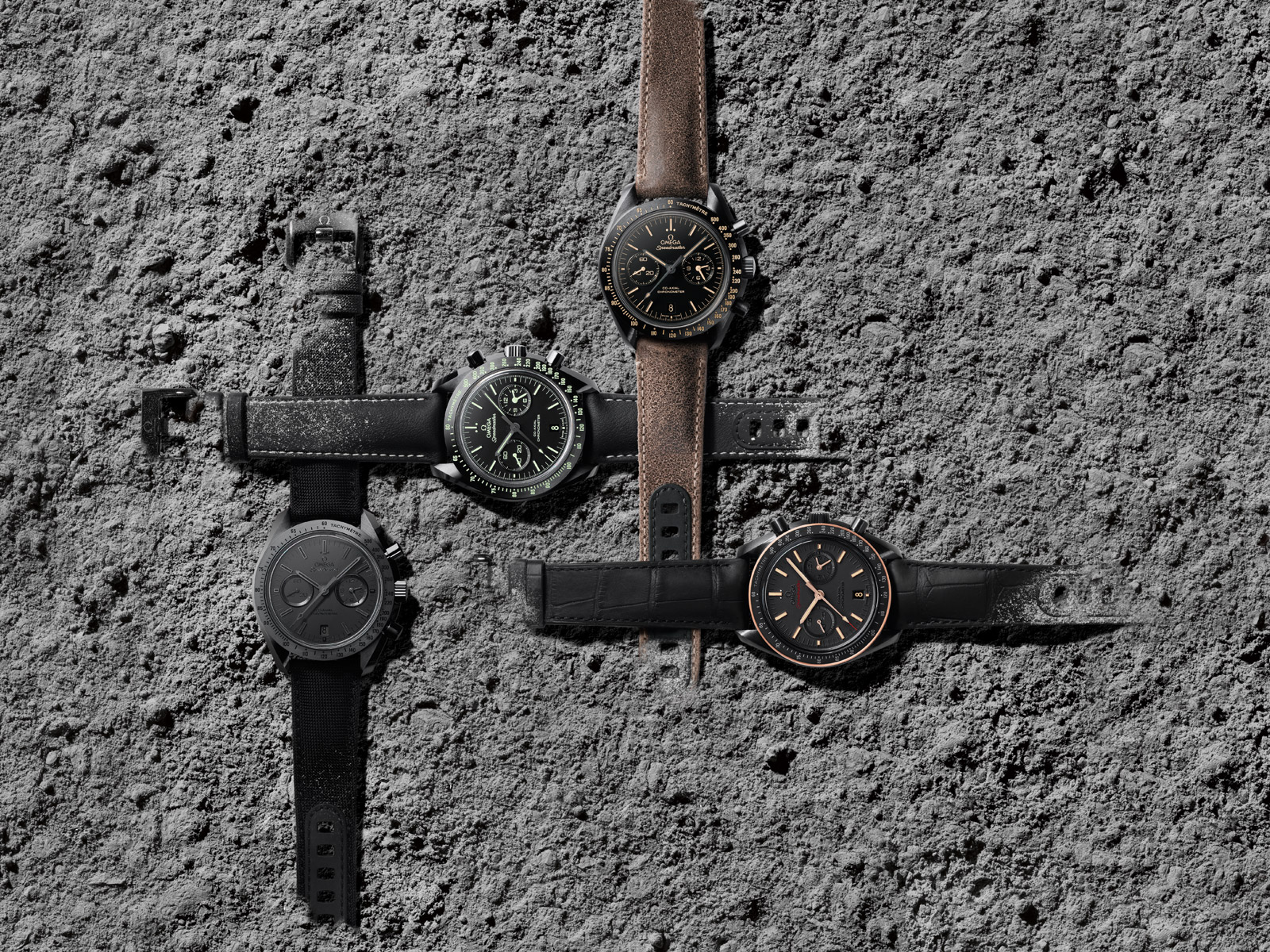 The Omega Dark Side of the Moon Collection. Photo courtesy of Omega.