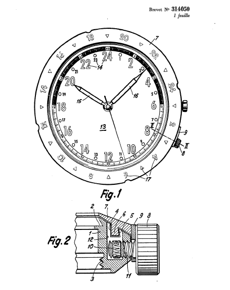 The patent diagram for the 24 hour dial and the bezel locking mechanism.