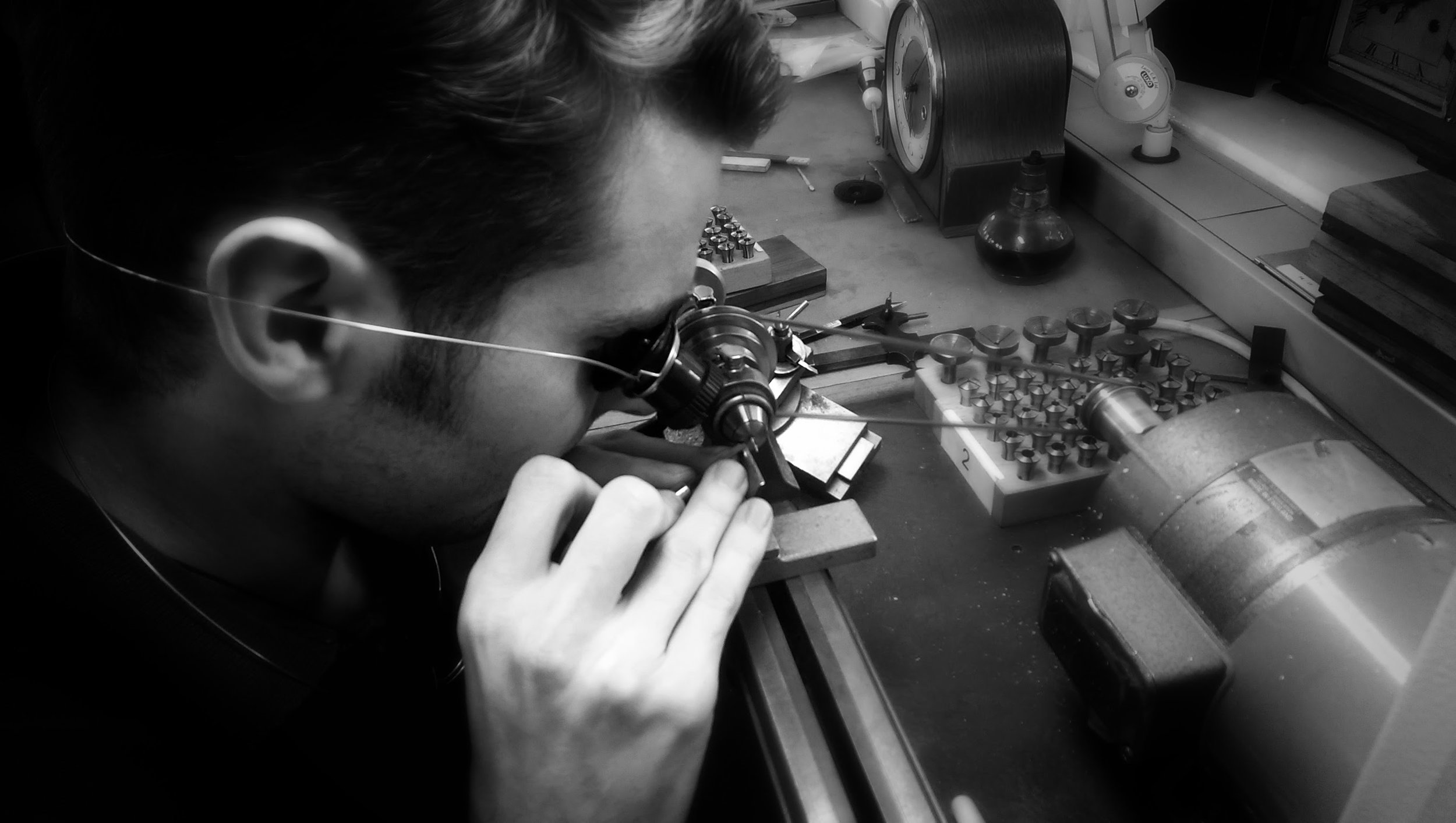 James hard at work on the clock. Photo courtesy of Harris Horology.