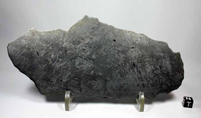A slice of the Gibeon Meteorite. You can see the interlocking ribbons that become clearer after polishing and treatment.