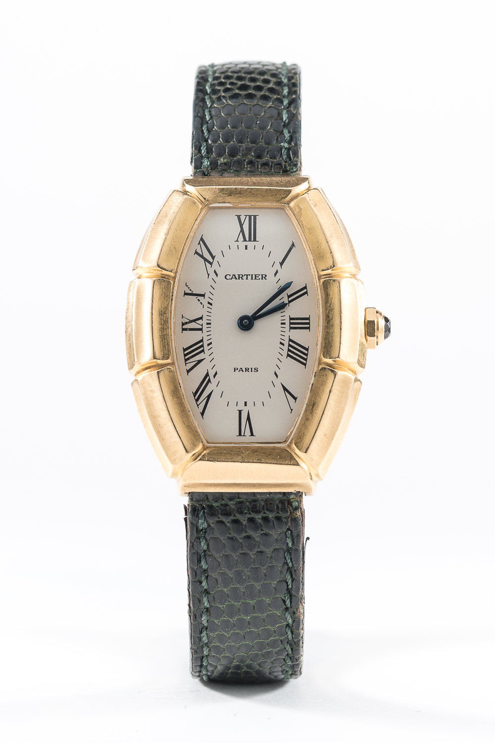 Lot 45 - Cartier Tonneau Bamboo. Image courtesy of Watches of Knightsbridge.