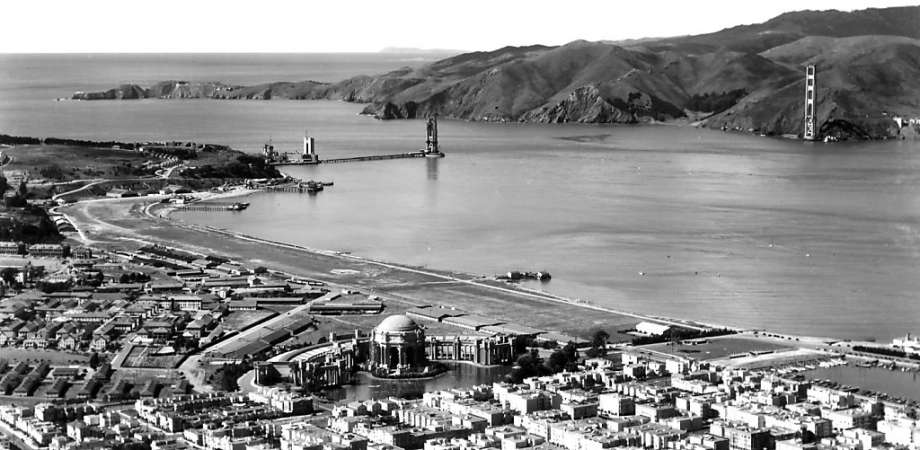 A photo of the Golden Gate Straight during the early construction of the bridge. Photo courtesy of goldengate75.org.