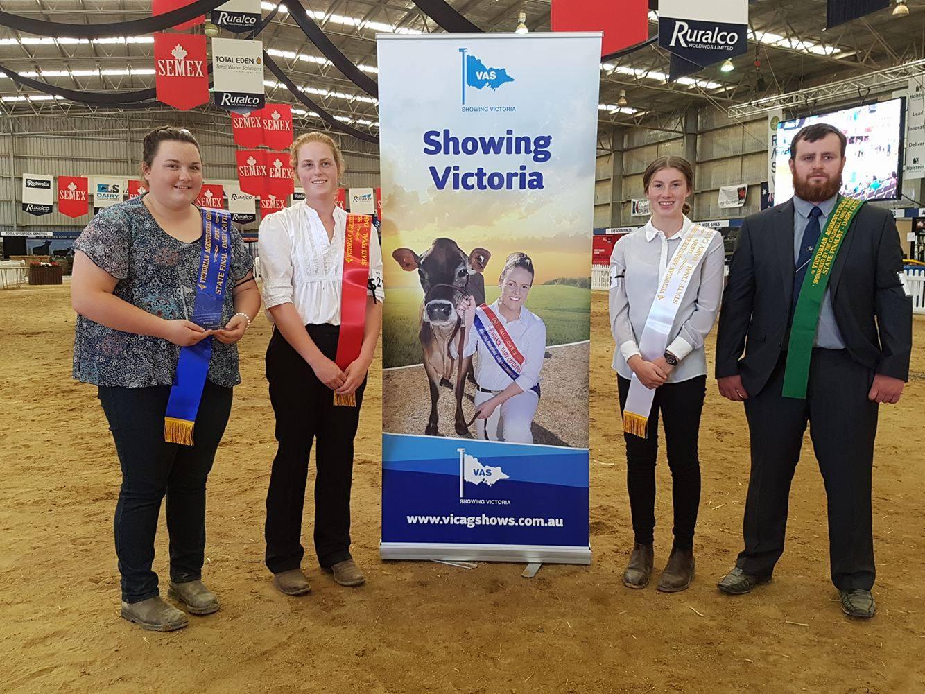L - R Cally o'shannassy, tamara loughridge, Rachel Dickson & karl munden. winners of the state final of the vas ltd dairy judging competition.