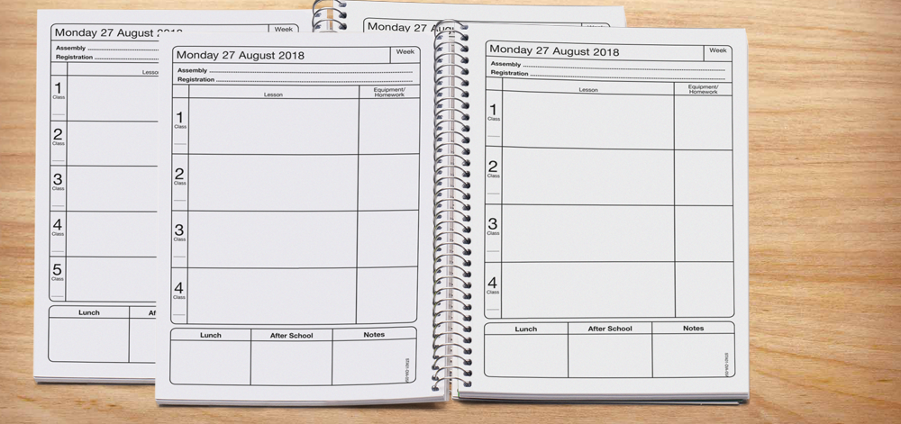 Fully dated diary with 4, 5, 6, 7, 8 and 9 lesson layout options -