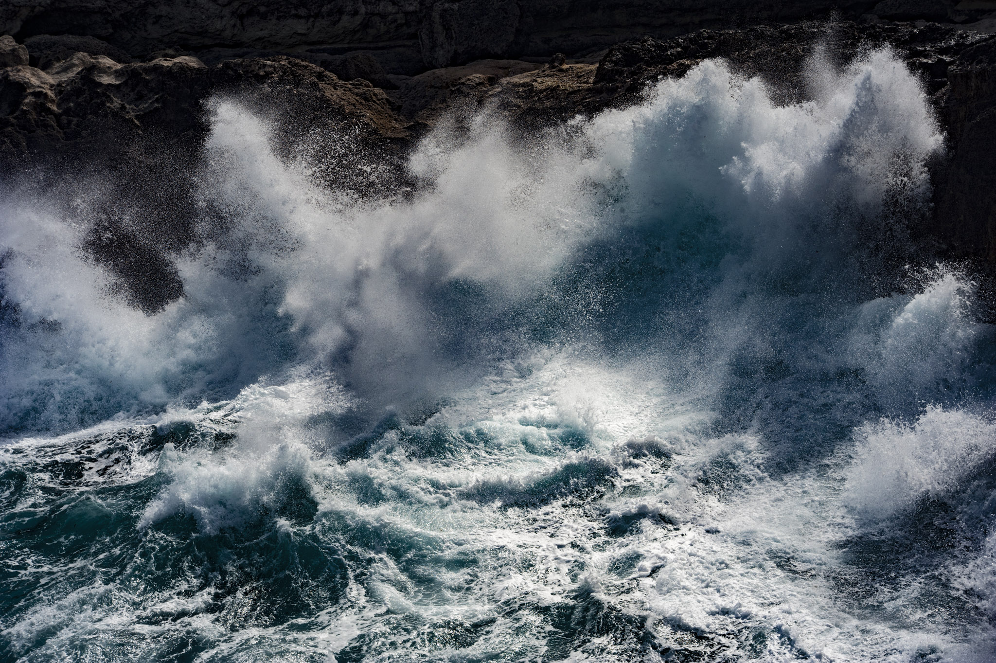 Big waves in a stormy weather make harder sight the whales. (Lampedusa 2018)