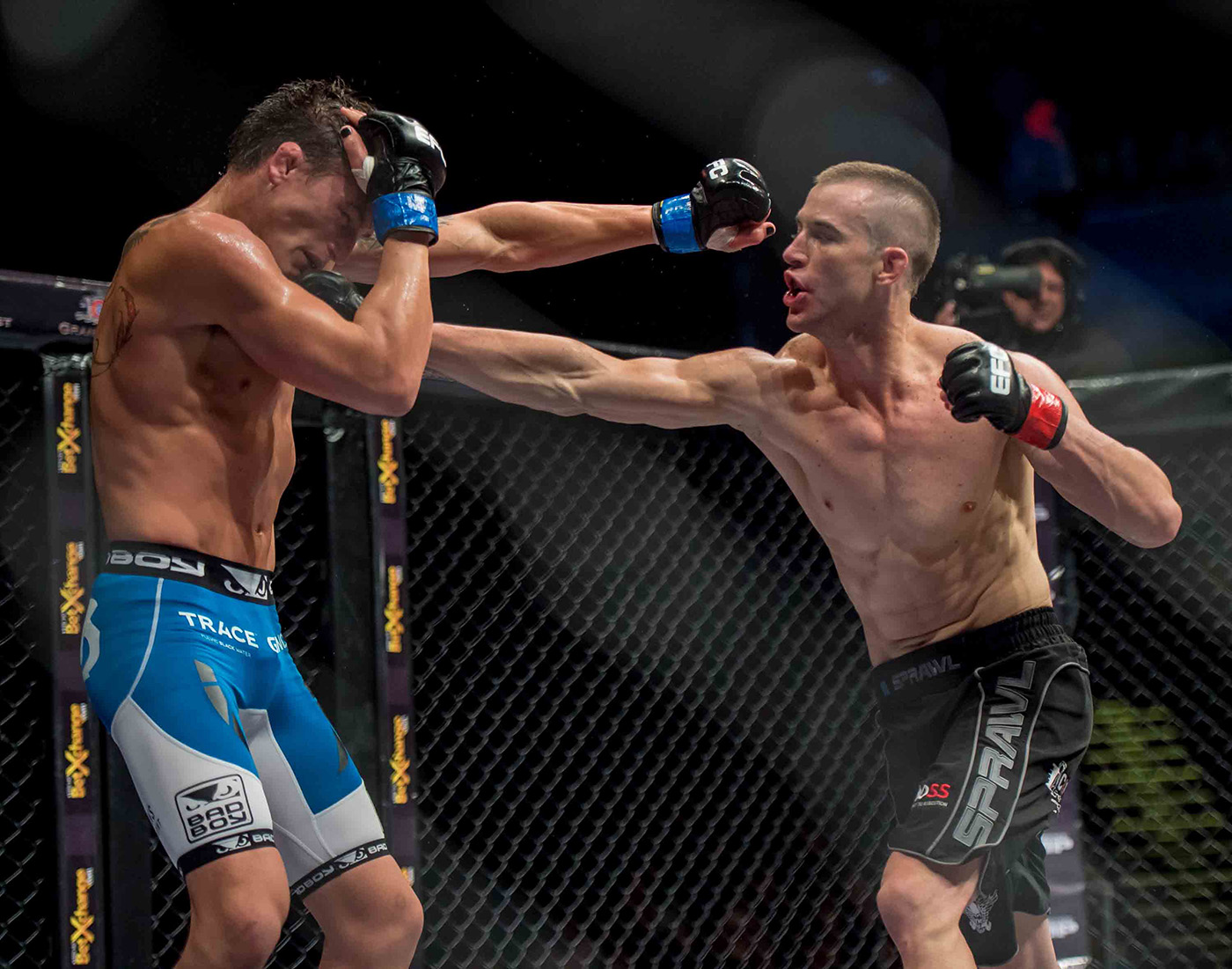 EFC Featherweight champion Boyd Allen lands a punch against Don Madge at EFC 30 at the Grandwest Casino, Cape Town.  Image by  Anton Geyser