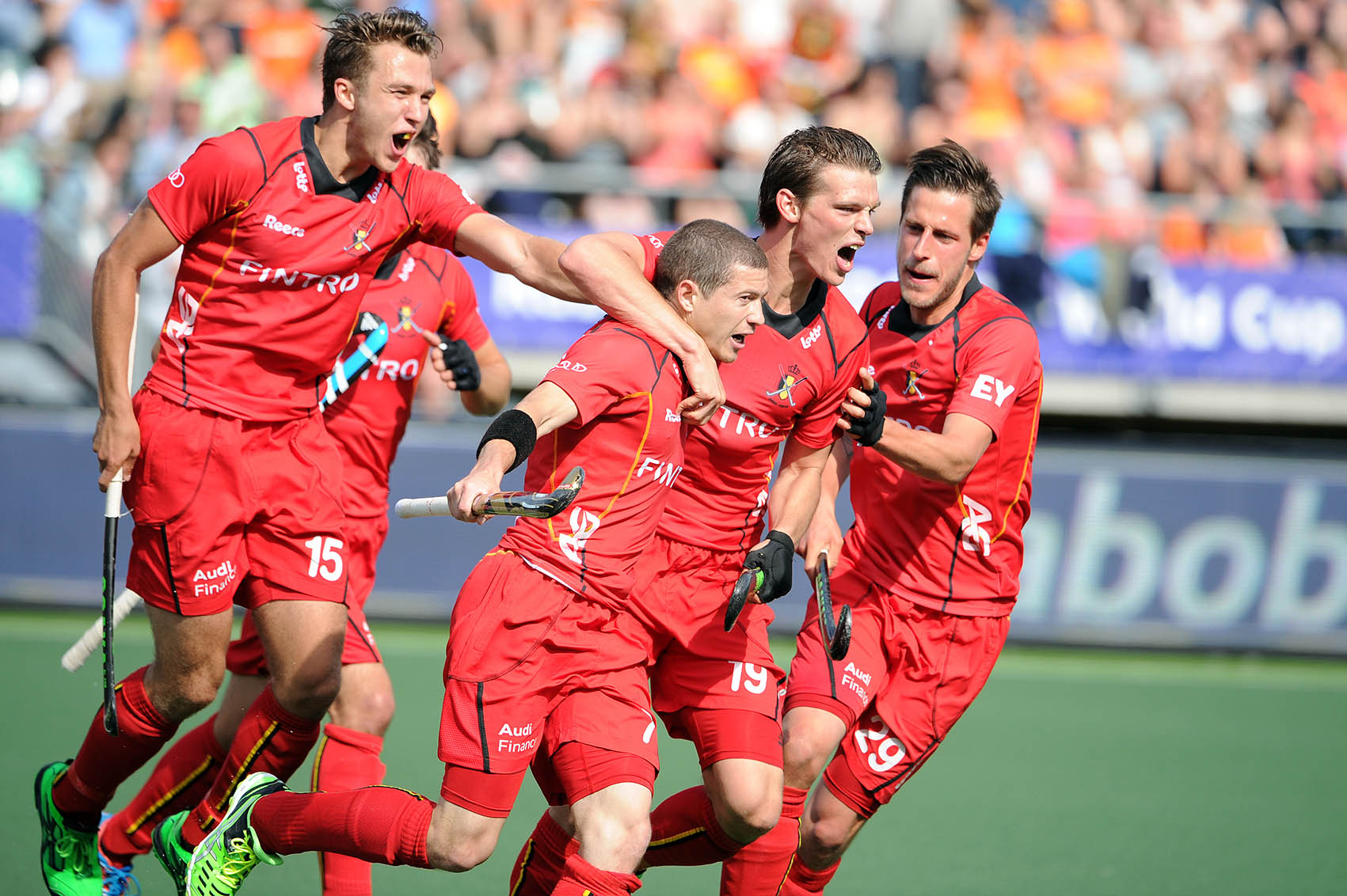 The Royal BelgianHockey Association's men's team celebrateJohn John Dohmen winning goal against Indiain the 2014 FIH World Cup. Team unity is vital for success and Belgium's rise up the rankings is indicative of a successful programme. Image supplied by the Royal Belgium Hockey Association.