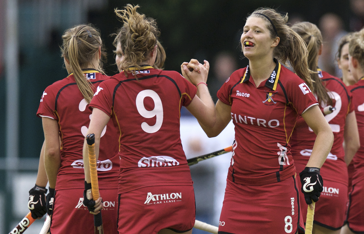 The u21 women celebrate a goal in the 2014 European Cup. Being able to understand each other on the field is something that the RBHA youth team's have struggled with, but they are improving.