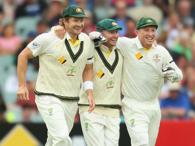 Dad's Army: Shane Watson, Michael Clarke, and Brad Haddin of Australia, celebrate a wicket during last year's triumphant Ashes series against England.