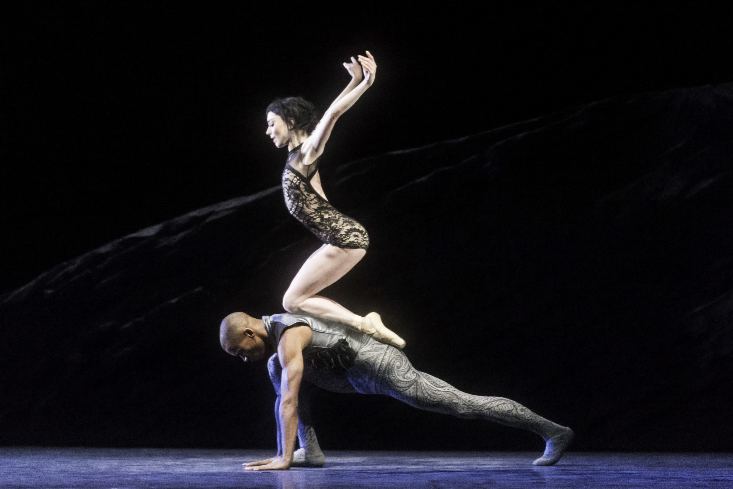 Sarah Lamb and Eric Underwood of the Royal Ballet Company demonstrate power and balance in  Raven Girl.Image supplied by the Royal Ballet Company, photo by Johan Persson.