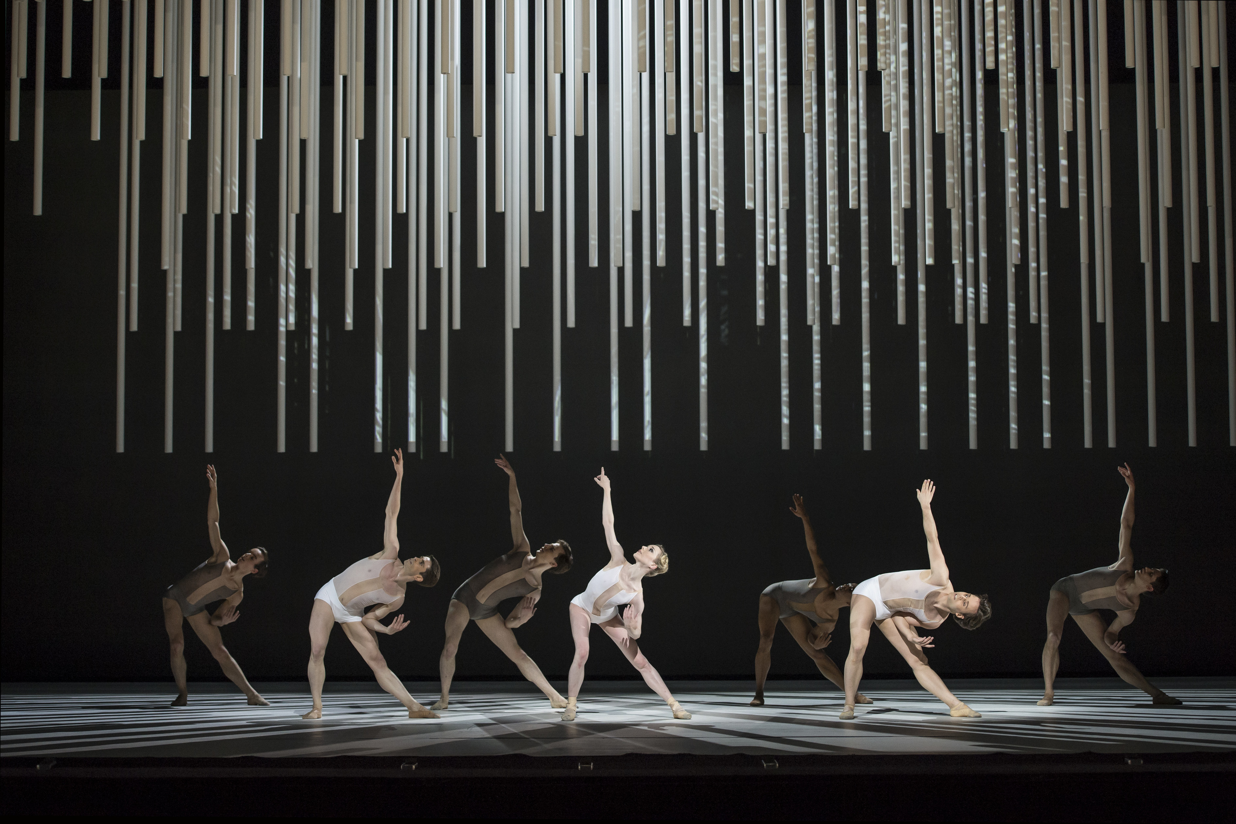 Sarah Lamb and artists of The Royal Ballet Company in  Connectome. Image supplied by the Royal Ballet Company,photo by Bill Cooper