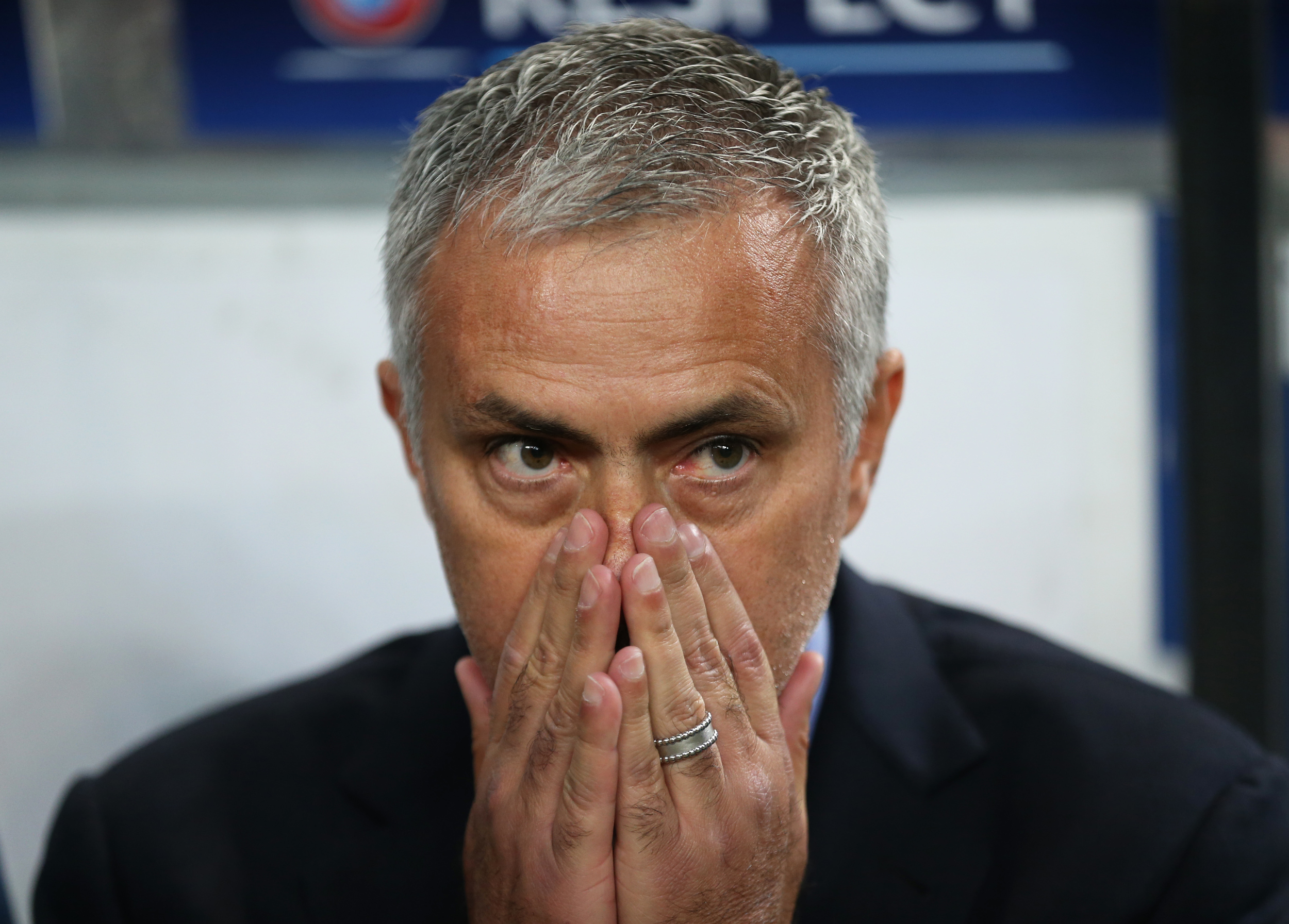 Chelsea Football Club's manager, Jose Mourinho looks dejected as his side struggle in the Champions League against his old club, Porto. Chelsea, the reigning English Premier League champions, have struggled domestically, languishing in 15th place as well as being knocked out of the Capital One Cup. His job is in jeopardy. Image supplied by Action Images / Matthew Childs