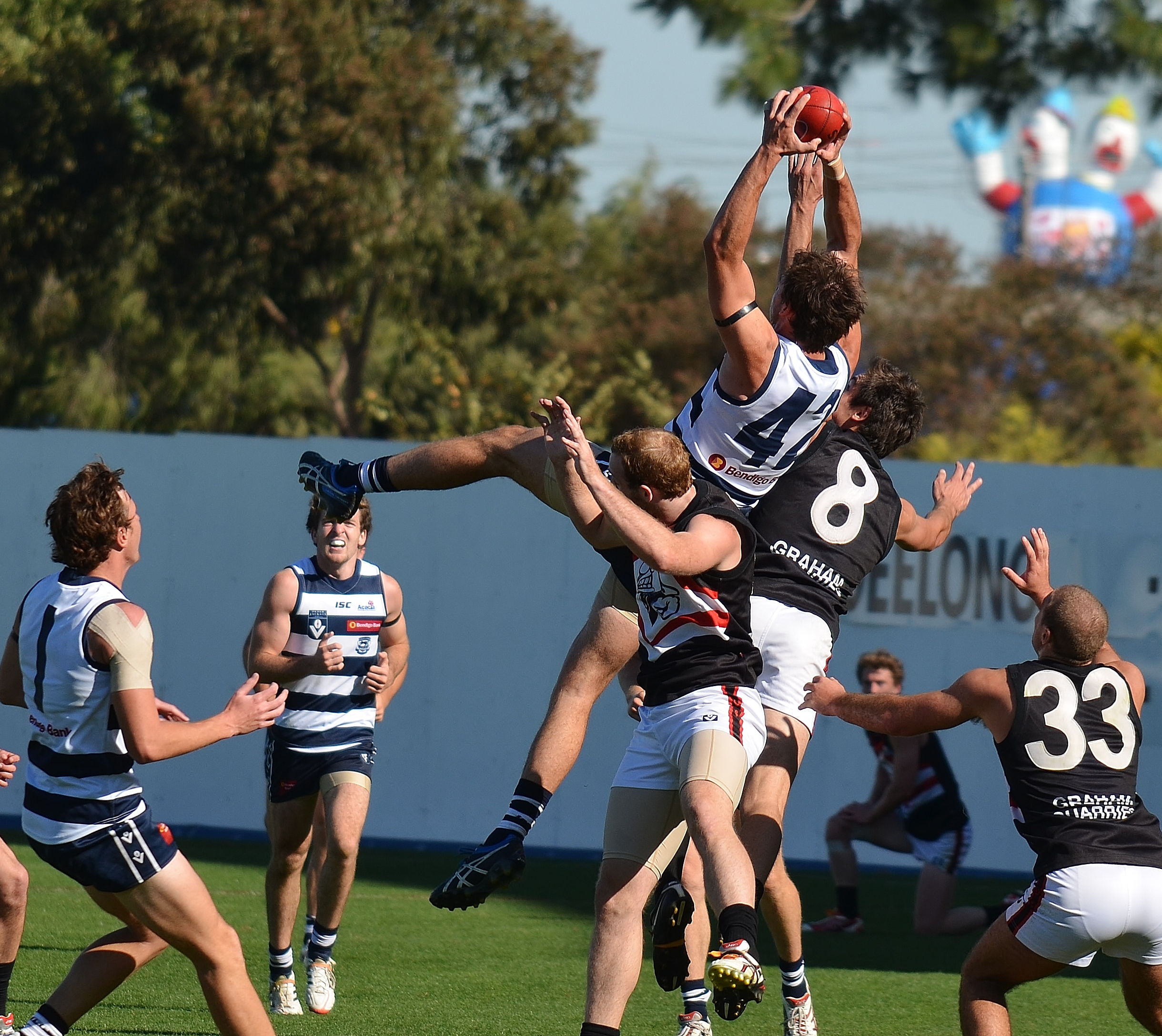 Josh Waker takes a mark for the Geelong Cats in the Victorian Football League (VFL). Marking is one of the most difficult and sport specific skills in Australian rules football.  Image supplied by  Arj Giese