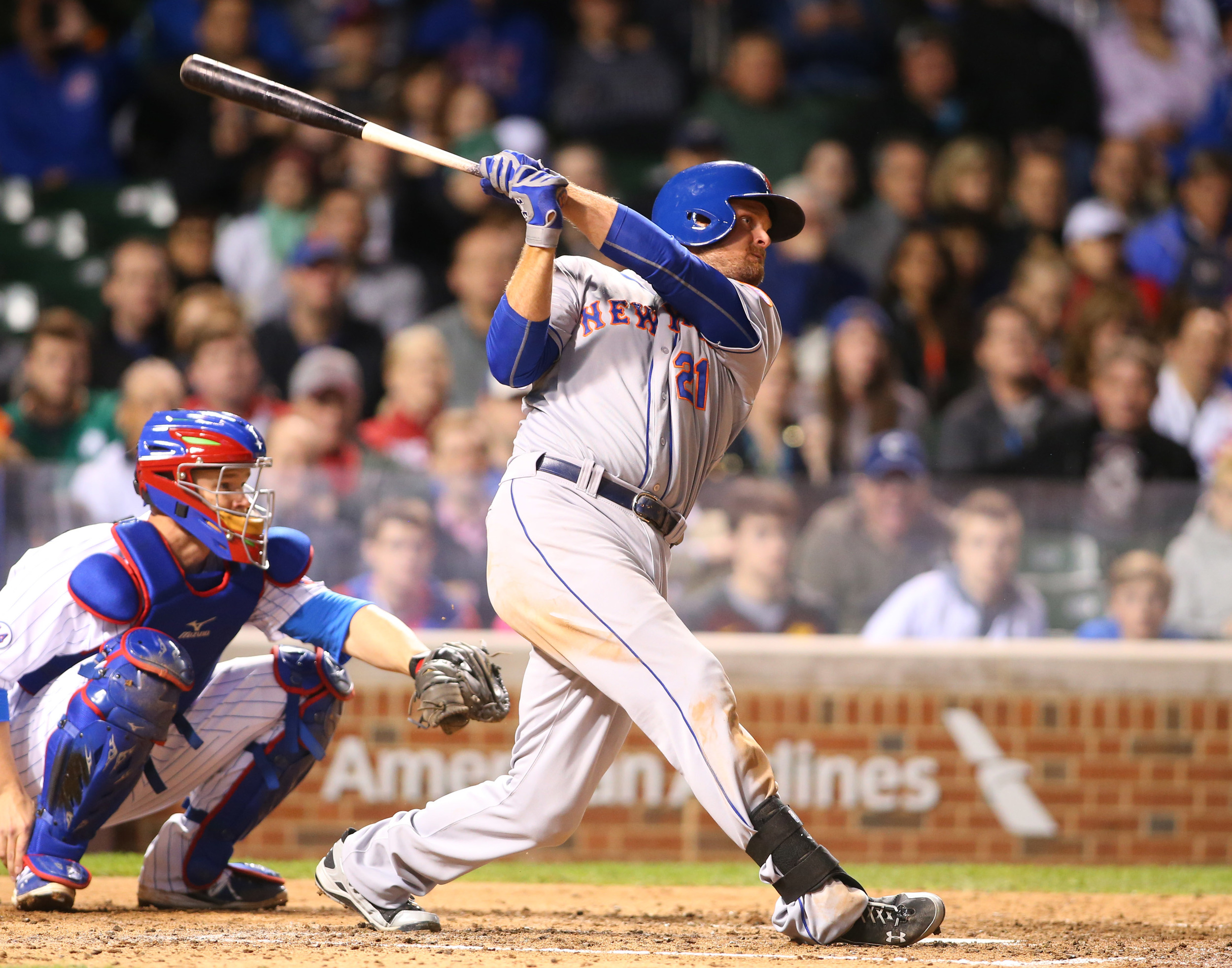 New York Mets first baseman Lucas Duda hits a home run during the sixth inning against the Chicago Cubs at Wrigley Field. Powerful hitting and the ability to clear the fences is a skill that is required in both baseball and T20 cricket. Image supplied by Action Images/Caylor Arnold-USA TODAY Sports