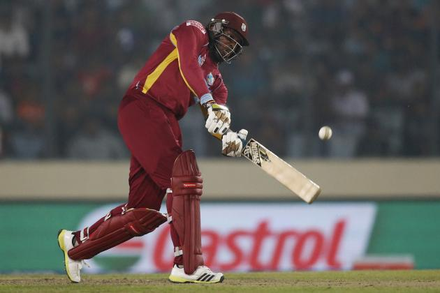 Chris Gayle in action for the West Indies. Gayle's ability to clear the ropes on a regular basis has made him one of the most destructive hitters in cricket. With that ability, one wonders what kind of baseball slugger he would make.