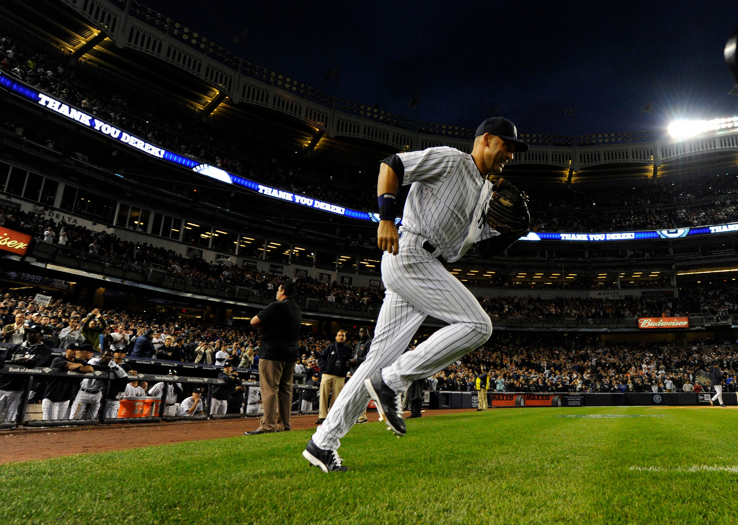Derek Jeter runs out for the last time at Yankee Stadium against the Baltimore Orioles on Septmeber 25, 2014. The shortstop played 20 seasons for the Yankees, winning five World Series. Legends like Jeter are used to inspire current players and instil them with a sense of history and identity. Image supplied by Ac  tion Images/Rober Deutsch