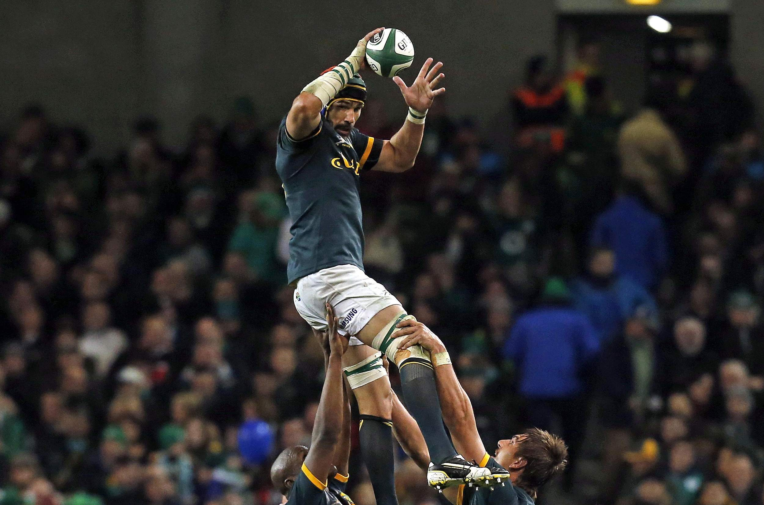 Victor Matfield wins a line out for South Africa against Ireland during their international test match at the Aviva Stadium in Dublin November 8, 2014. Despite his age, Matfield remains one of the world's leading locks.  Image supplied by Action Imag es/ Cathal McNaughton