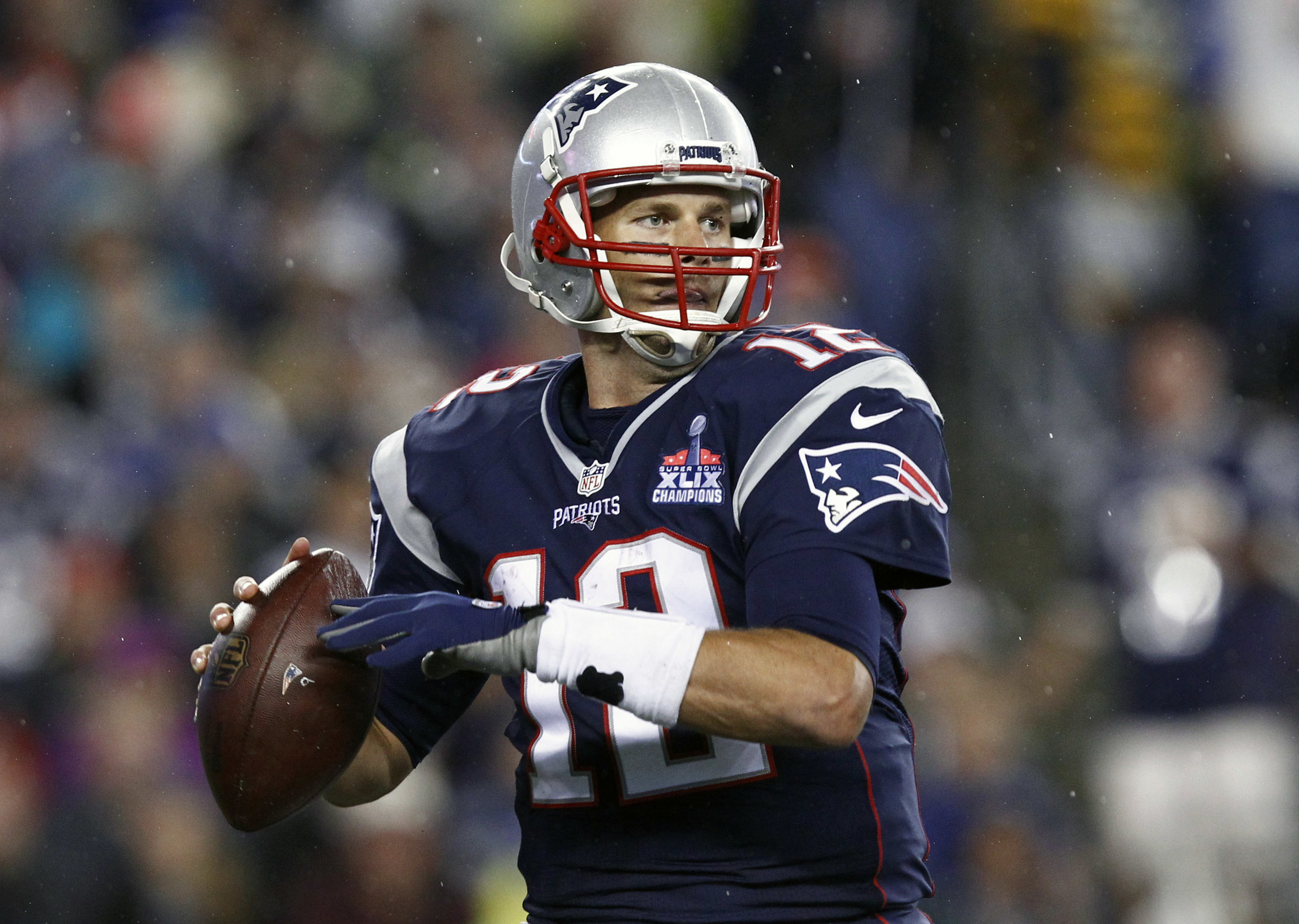 New England Patriots quarterback Tom Brady (12) throws the ball against the Pittsburgh Steelers in the opening game of the 2015 National Football League season. The NFL are strong supporters of using technology to help athletes and coaches make important decisions on the field and improve performance. Image supplied by Acti  on Images/Mark L. Baer