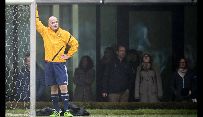 New FIFA President Gianni Infantino of Switzerland attends a friendly soccer match at the Home of FIFA in Zurich, Switzerland, 29 February 2016. Infantino has been elected as new FIFA President at the Extraordinary FIFA Congress 2016 in Zurich on 26 February 2016.  EPA / Ennio Leanza.