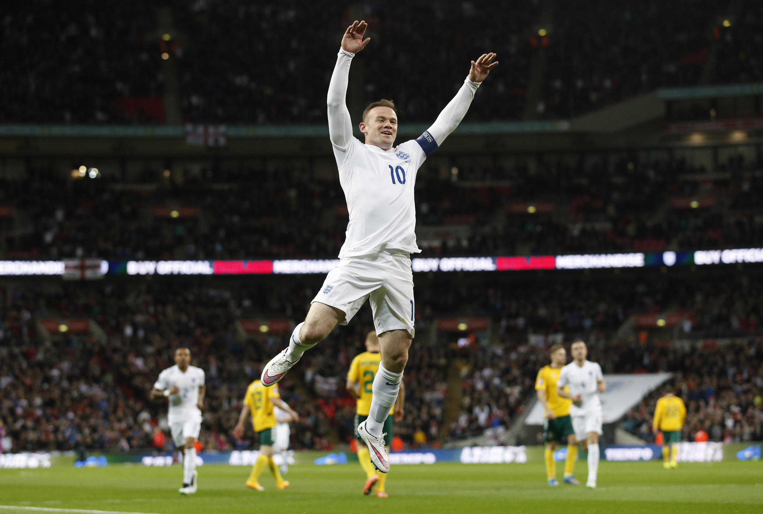 Wayne Rooney, captain of England, celebrates scoring against Lithuania in the European Championship qualifiers at Wembley Stadium. Rooney, as instrumental as he may be, is not guranteed a starring role later this year in France. Image supplied by Action Images /Carl Recine.