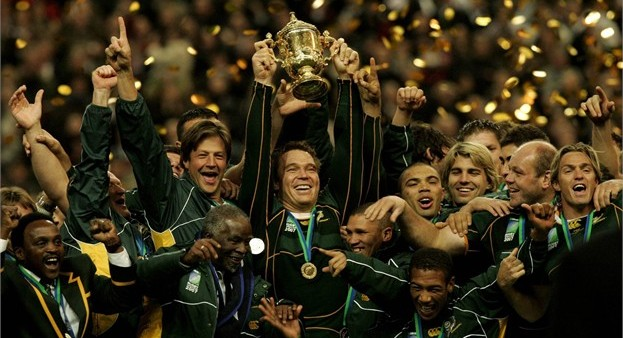 Bobby Skinstad celebrates on the immediate right of his captain John Smit (with trophy) and just above former president Thabo Mbeki as the Springboks are crowned the 2007 Rugby World Cup champions. Skinstad, although not playing a pivotal role on the field, was no doubt instrumental to his team's success.