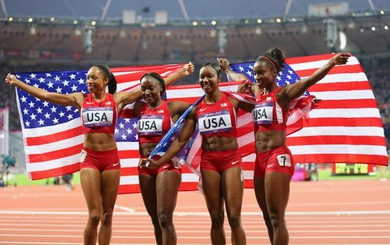 Allyson Felix, Bianca Knight, Carmelita Jeter and Tianna Madison secured gold in London four years ago in record time (40.82 seconds) in the 4x100m relay.