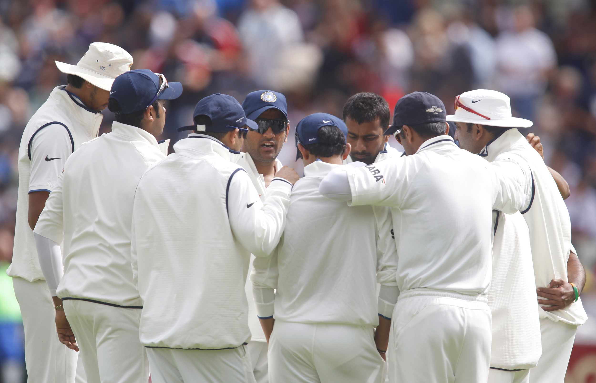 The Indian Test team gather in a huddle during a match against England at Edgbaston. Paddy Upton, during his time as Gary Kirsten's assistant coach, helped instil a unified philosophy within the Indian team.  Image supplied by Action Images / Andrew Boyers