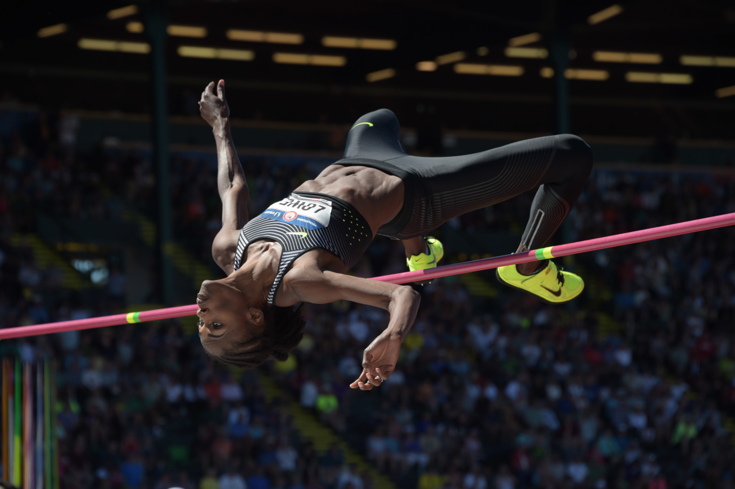 Chaunte Lowe demonstartes the Fosbury Flop high jump technique. Now the standard methos employed by all high jumpers, this method was once considered the greatest piece of innovation in world sport. Image supplied by Action Images / Kirby Lee.