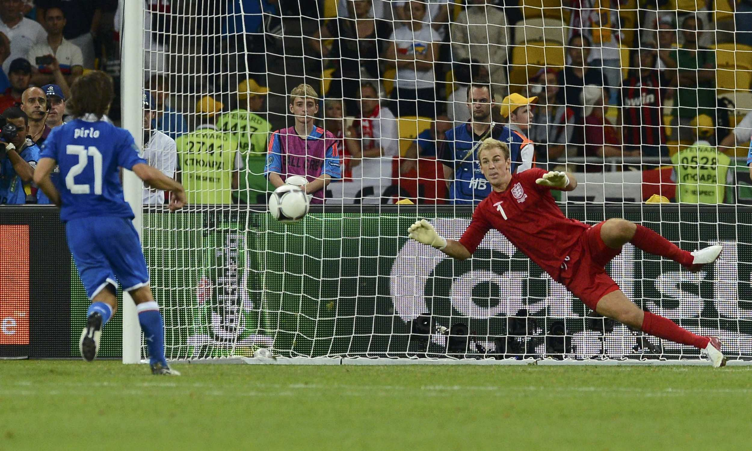 Italy's Andrea Pirlo scores a Panenka penalty past England's goalkeeper Joe Hart during the penalty shoot-out of their Euro 2012 quarter-final match at the Olympic Stadium in Kiev. Image supplied by Action Images / Nigel Roddis.