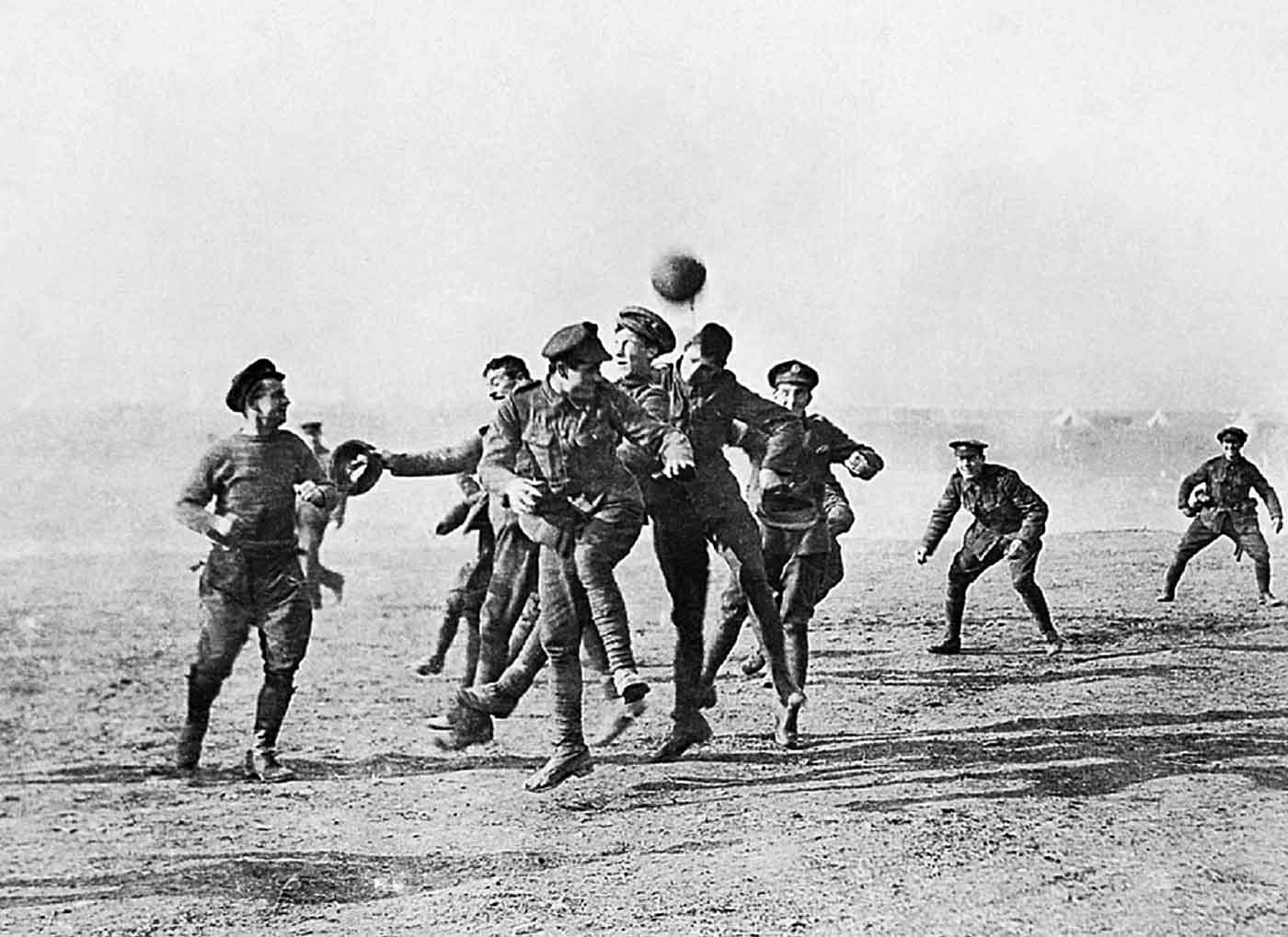 In one of the most iconic images from the Great War, German and British soldiers take a break from killing each other to play an informal game of football between the lines in no-man's land. This image stands out as a testament to the human spirit, and that even in the most atrocious conditions, our love of sport endures.
