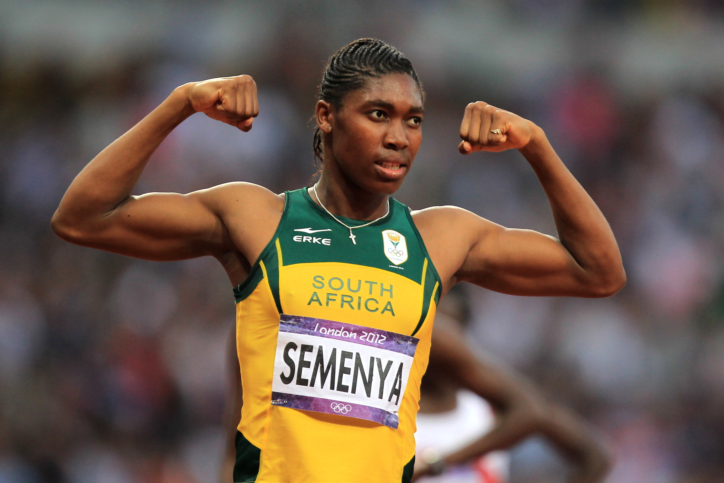 Caster Semenya celebrates winning silver in the women's 800m final at the London 2012 Games. Four years ago, Semenya was forced to race while adhering to an upper limit on her testosterone levels. This year, she will run unimpeded. Image supplied by Action Images / James O'Brien