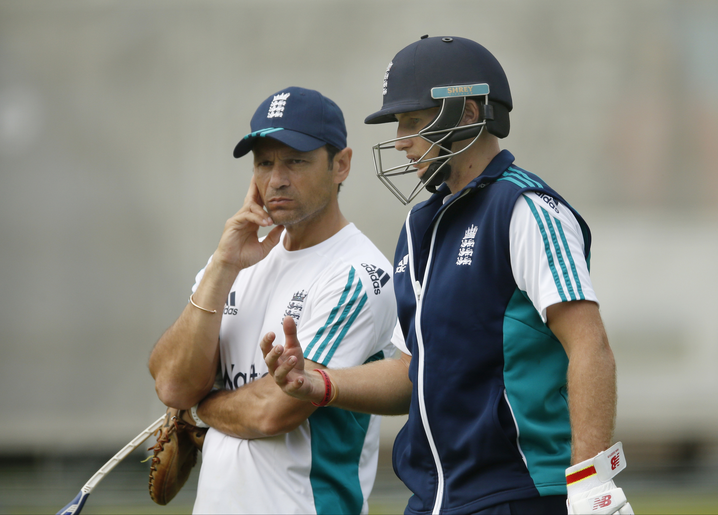 England's Joe Root (R) with batting coach Mark Ramprakash during a training session in preparation for the Test series between England and Pakistan. By asking questions, and challenging Root to find the answers himself, Ramprakash has unlocked England's best batsman's true potential. Image supplied by Action Images /Andrew Boyers.