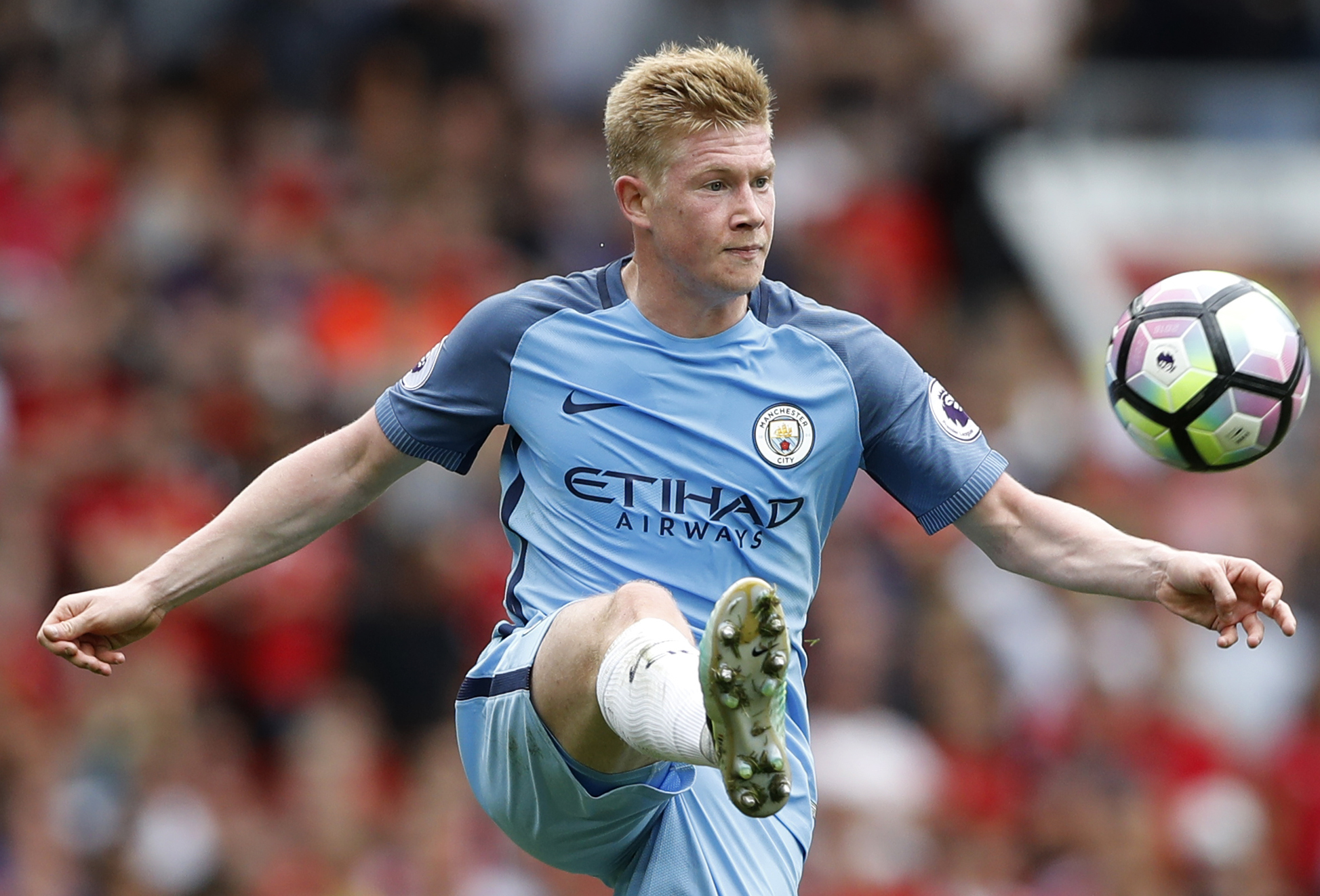 Kevin De Bruyne of Manchester City pluck the ball out of the air during his dazzling performance in the Manchester derby. At 25, De Bruyne is widely considered one of the most promising talents in Europe. But it could have been so different had he not taking the plunge and left Chelsea when he did. Image supplied by Action Images / Carl Recine.
