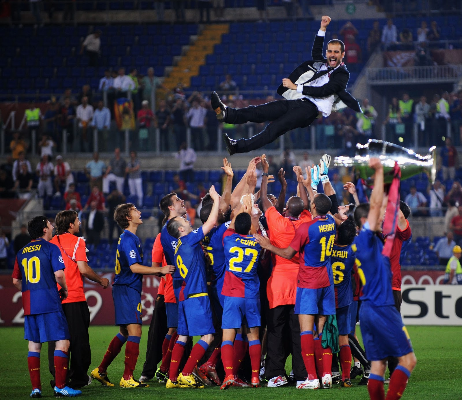 As manager of Barcelona between 2008-2012, Guardiola (mid-air) won it all. Fourteen titles is a mighty hall but critics are starting to wonder how much of that success should be attributed to his influence or to the glut of world class talent he had at his disposal.