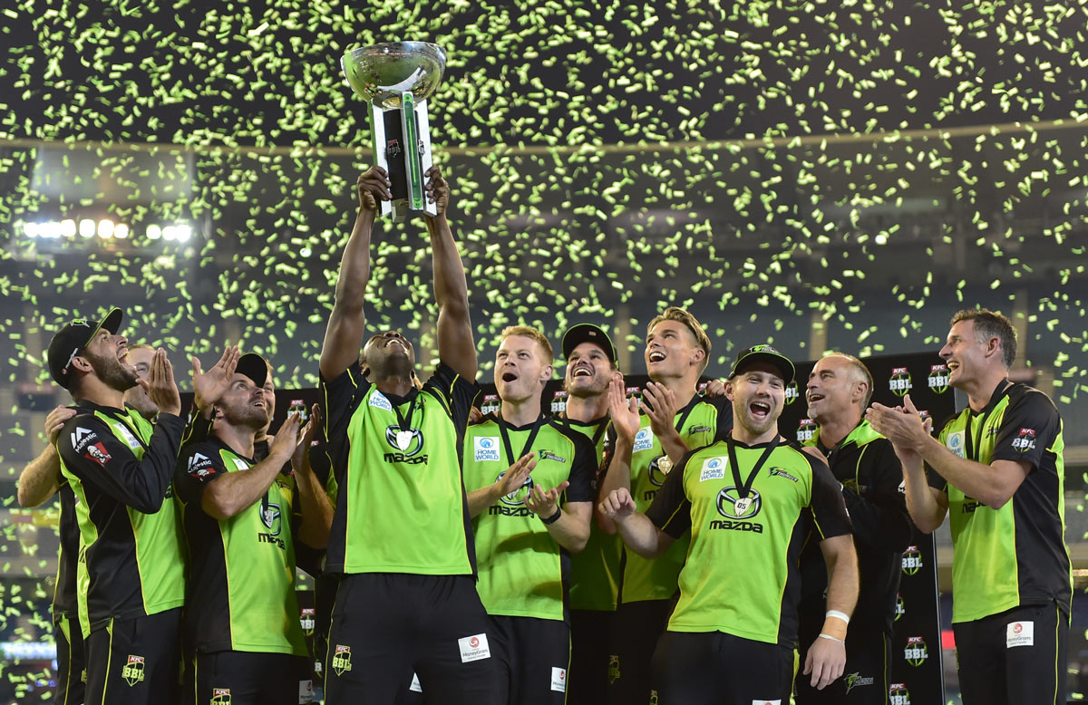 Paddy Upton (second from right) celebrates with his Sydney Thunder team after winning the 2015/16 Big Bash League.