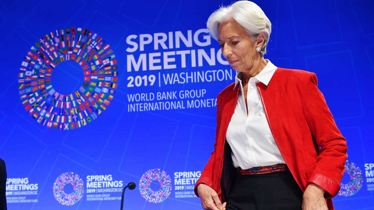 In this file photo taken on April 11, 2019 International Monetary Fund (IMF) Managing Director Christine Lagarde arrives to speak during a press conference during the IMF – World Bank Spring Meetings at IMF Headquarters in Washington, DC.