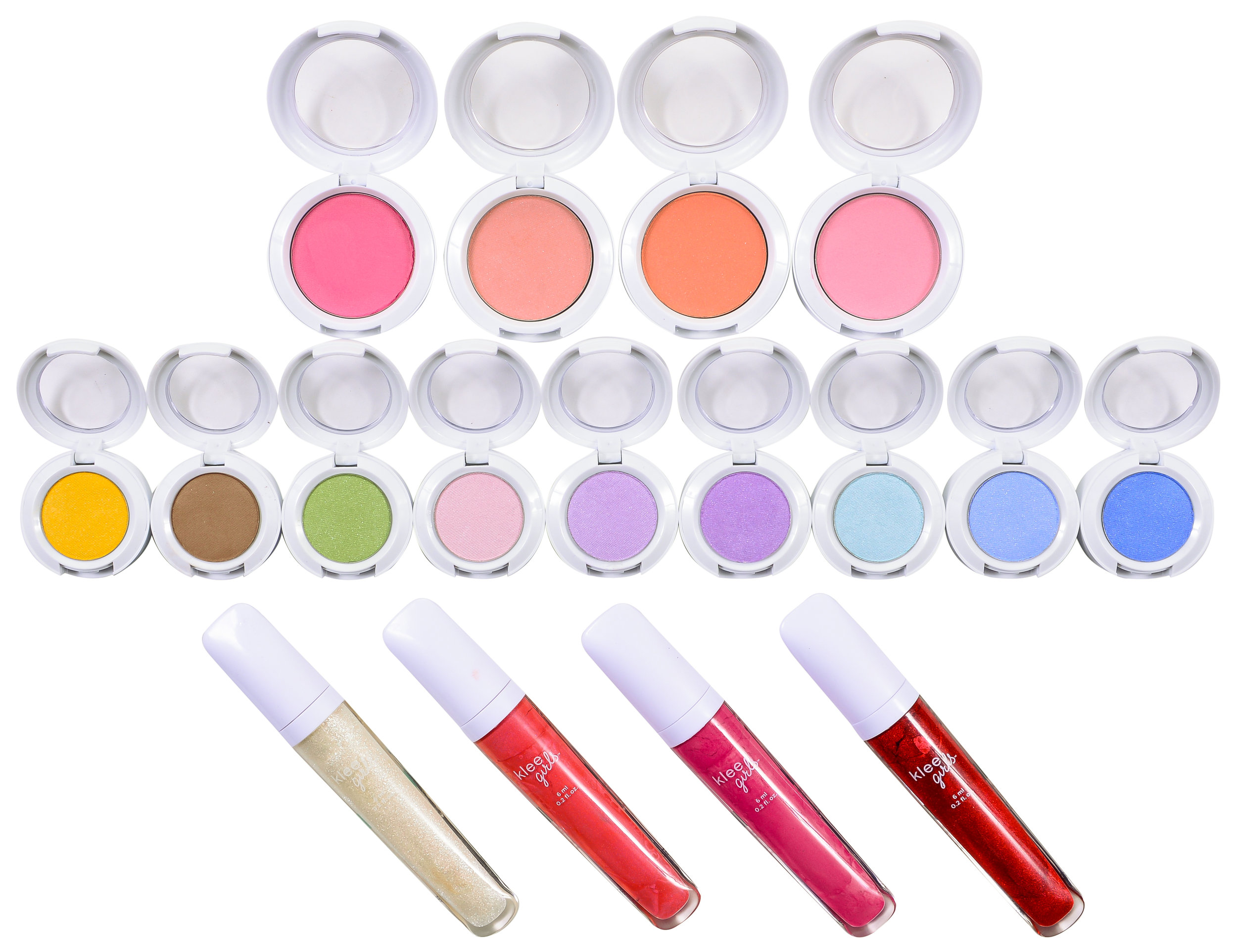 Klee GIRLS pressed powder compacts and Lip Gloss Selection
