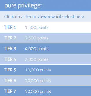 Visit the  Pure Privilege website  to see all of the rewards offered!