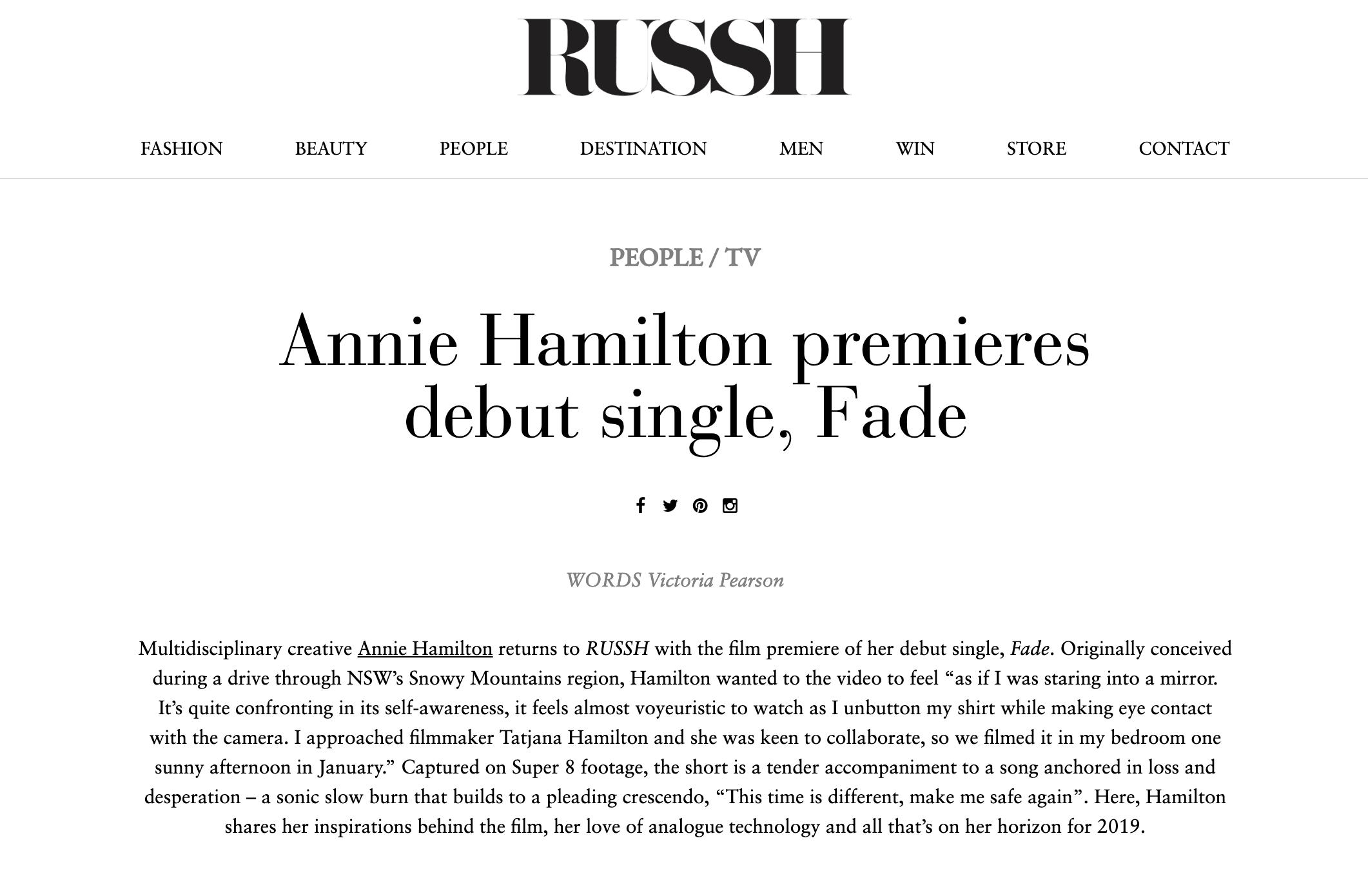 Russh Magazine Annie Hamilton Fade MV