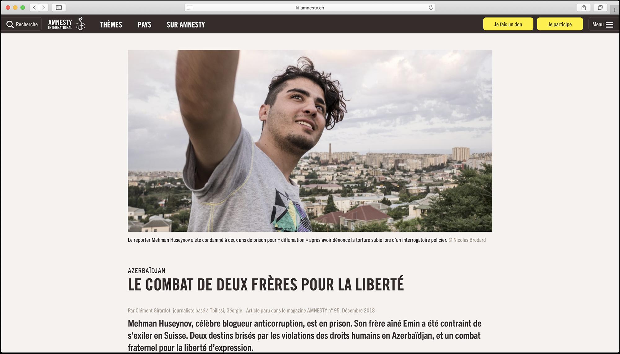 Publication par Amnesty International. TEXTE : Clément Girardot PHOTO : Nicolas Brodard