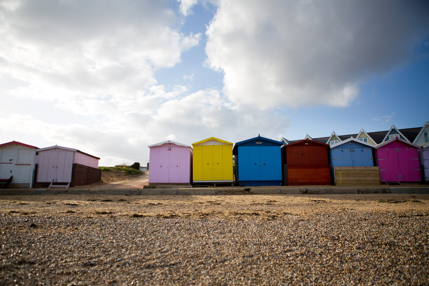 colourful beach huts at walton