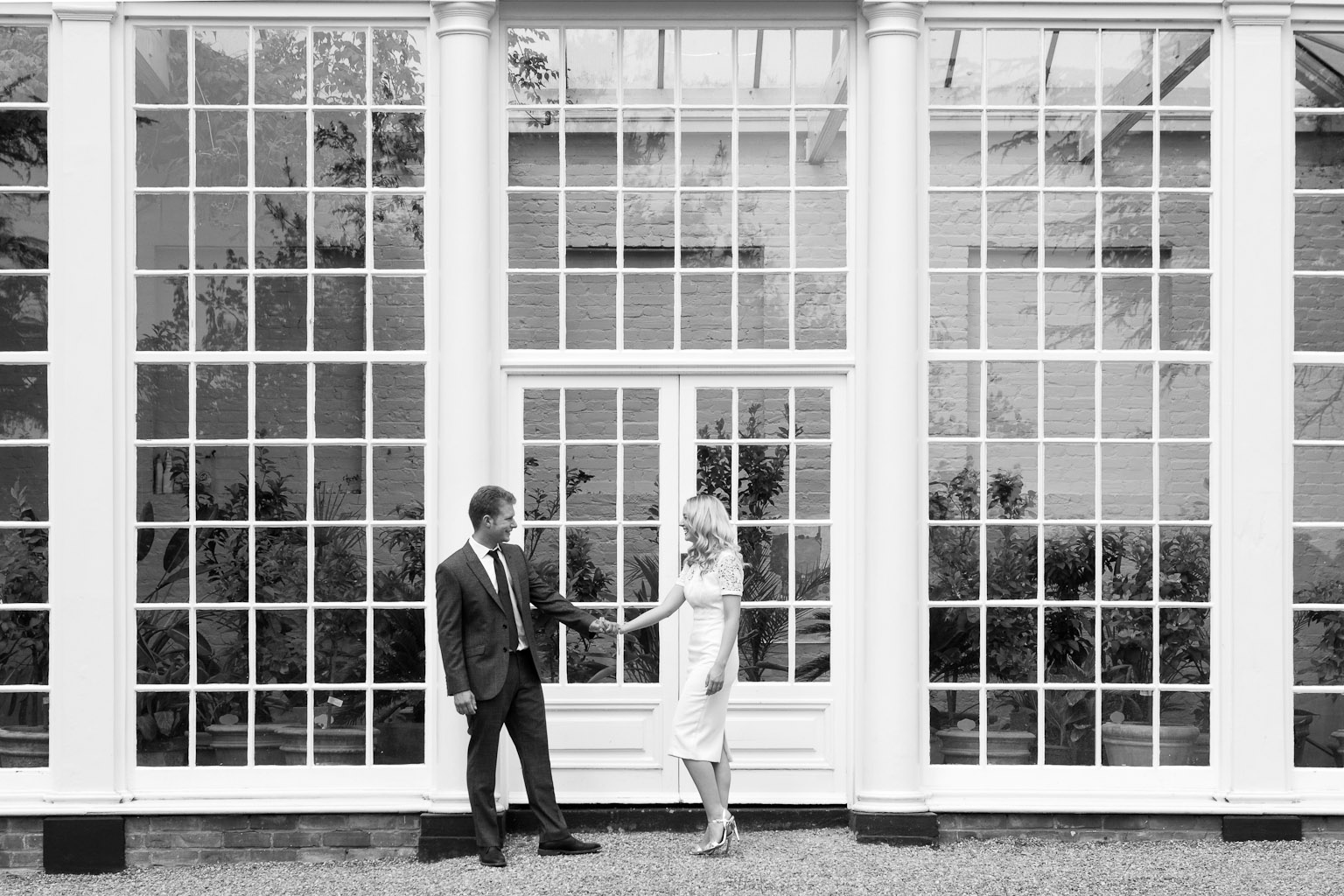 bride and groom outside orangery - Langtons wedding photography