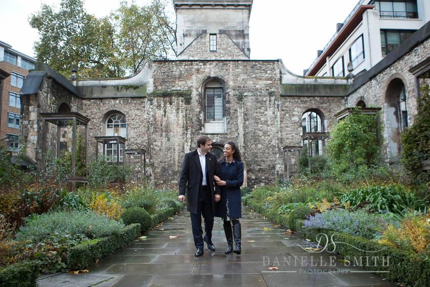 couple walking through industrial gardens london