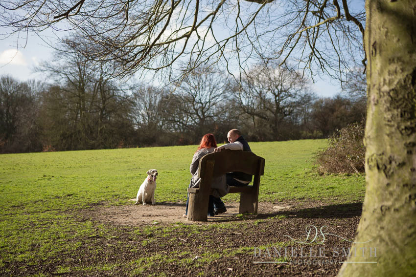 dog looking at owners sitting on bench in park