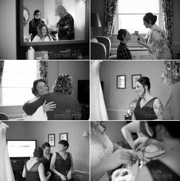 bridal preparations at down hall wedding
