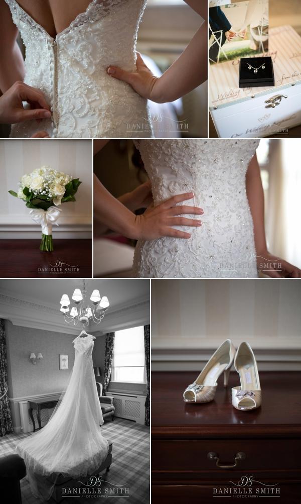bride putting her dress on - Down Hall wedding photographer