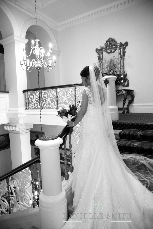 bride at top of stairs - Down Hall