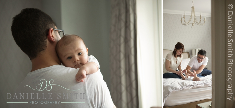dad holding baby boy over shoulder - chelmsford lifestyle photographer
