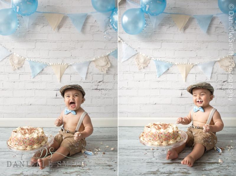 little boy loving cake- cake smash photography barking
