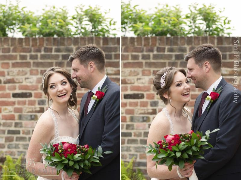 bride and groom portraits - barn wedding in purfleet